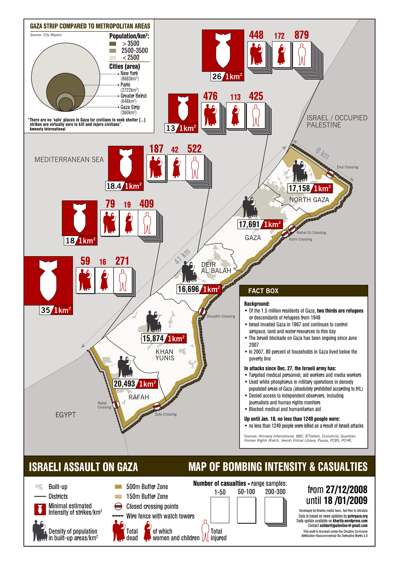 Gaza Map of Bombing Intensity & Casualties, Dec 27-Jan 18, 2009